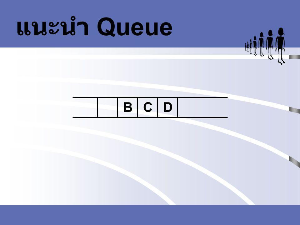 ขบวนการพื้นฐานที่ทำ กับคิว void PrintQueue(char * queue) { int i = 0; printf( \n\n ); for(i=0;i<10;i++) { printf( | %c , queue[i]); } printf( | ); printf( \n 0 1 2 3 4 5 6 7 8 9 ); printf( \n\n Front: %d, Rear : %d , front, rear); }