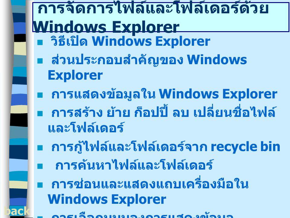 การจัดการไฟล์และโฟล์เดอร์ด้วย Windows Explorer วิธีเปิด Windows Explorer ส่วนประกอบสำคัญของ Windows Explorer การแสดงข้อมูลใน Windows Explorer การสร้าง ย้าย ก็อปปี้ ลบ เปลี่ยนชื่อไฟล์ และโฟล์เดอร์ การกู้ไฟล์และโฟล์เดอร์จาก recycle bin การค้นหาไฟล์และโฟล์เดอร์ การซ่อนและแสดงแถบเครื่องมือใน Windows Explorer การเลือกมุมมองการแสดงข้อมูล การเรียงลำดับไฟล์และโฟล์เดอร์ การเปิด - ปิดและเลือกไฟล์และโฟล์เดอร์ back