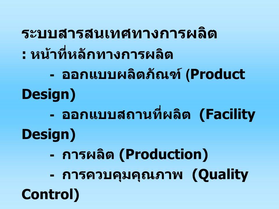 ระบบสารสนเทศทางการผลิต : หน้าที่หลักทางการผลิต - ออกแบบผลิตภัณฑ์ (Product Design) - ออกแบบสถานที่ผลิต (Facility Design) - การผลิต (Production) - การควบคุมคุณภาพ (Quality Control)