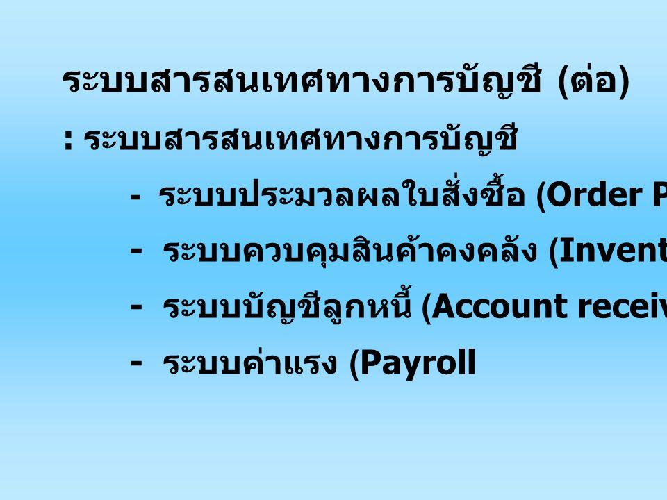 ระบบสารสนเทศทางการบัญชี ( ต่อ ) : ระบบสารสนเทศทางการบัญชี - ระบบประมวลผลใบสั่งซื้อ (Order Processing) - ระบบควบคุมสินค้าคงคลัง (Inventory Control) - ระบบบัญชีลูกหนี้ (Account receiving) - ระบบค่าแรง (Payroll
