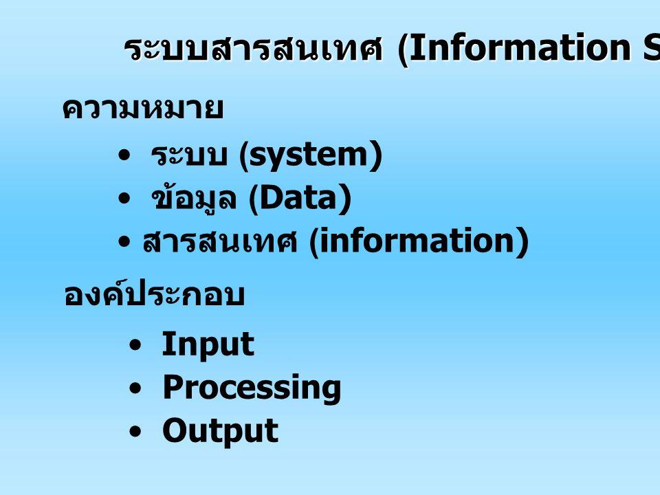 ระบบสารสนเทศ (Information System) ความหมาย ระบบ (system) ข้อมูล (Data) สารสนเทศ (information) องค์ประกอบ Input Processing Output