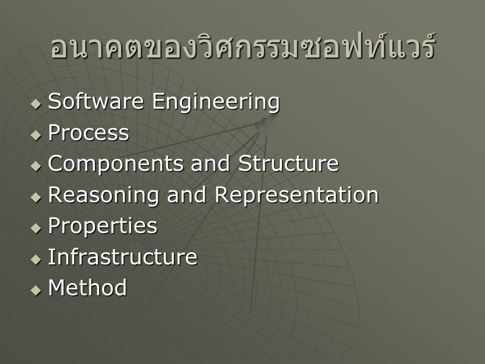 อนาคตของวิศกรรมซอฟท์แวร์  Software Engineering  Process  Components and Structure  Reasoning and Representation  Properties  Infrastructure  Me