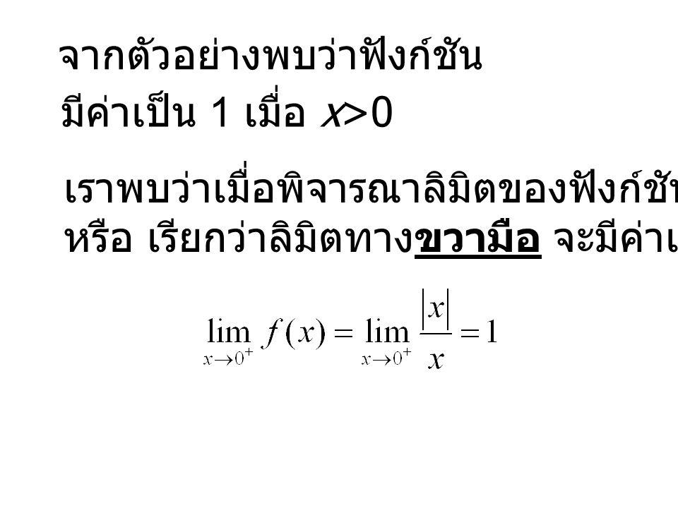 จากตัวอย่างพบว่าฟังก์ชัน มีค่าเป็น 1 เมื่อ x>0 เราพบว่าเมื่อพิจารณาลิมิตของฟังก์ชันเฉพาะกรณี x>0 หรือ เรียกว่าลิมิตทางขวามือ จะมีค่าเป็น 1