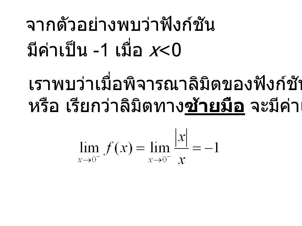 จากตัวอย่างพบว่าฟังก์ชัน มีค่าเป็น -1 เมื่อ x<0 เราพบว่าเมื่อพิจารณาลิมิตของฟังก์ชันเฉพาะกรณี x<0 หรือ เรียกว่าลิมิตทางซ้ายมือ จะมีค่าเป็น -1