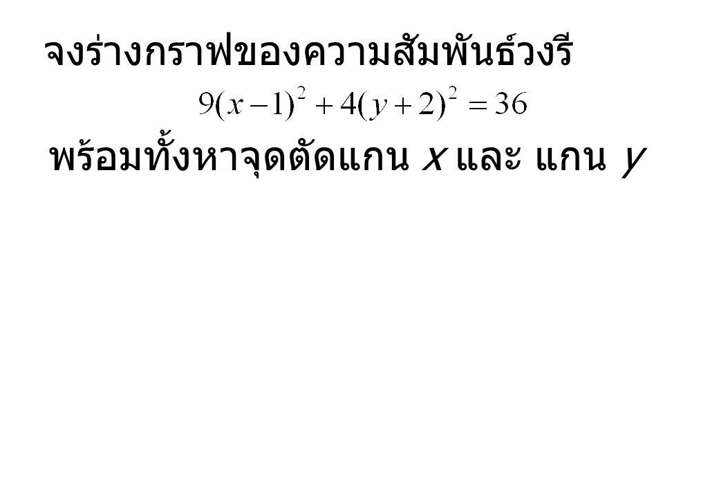 จงร่างกราฟของความสัมพันธ์วงรี พร้อมทั้งหาจุดตัดแกน x และ แกน y