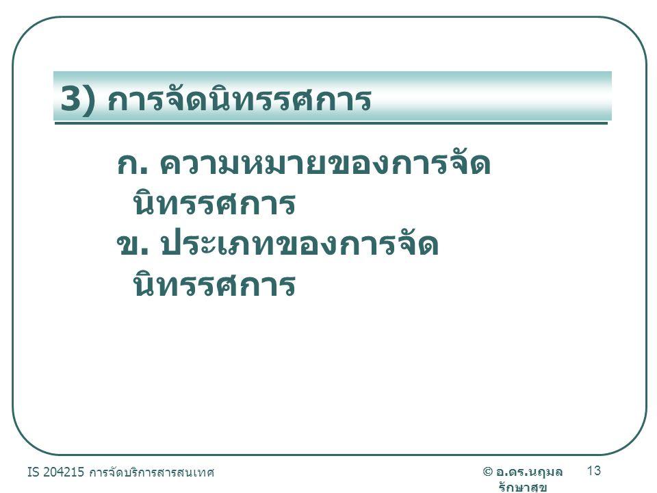  อ.ดร. นฤมล รักษาสุข IS 204215 การจัดบริการสารสนเทศ 13 3) การจัดนิทรรศการ ก.