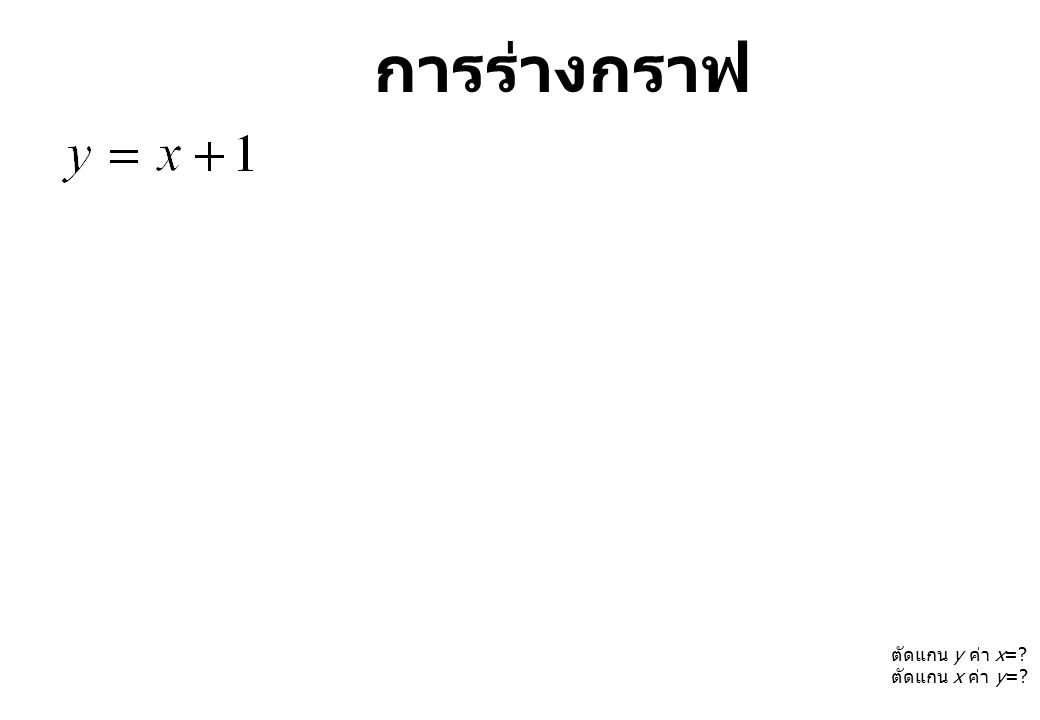 ตัดแกน y ค่า x=? ตัดแกน x ค่า y=?