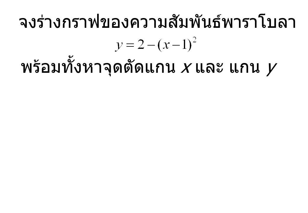 จงร่างกราฟของความสัมพันธ์พาราโบลา พร้อมทั้งหาจุดตัดแกน x และ แกน y
