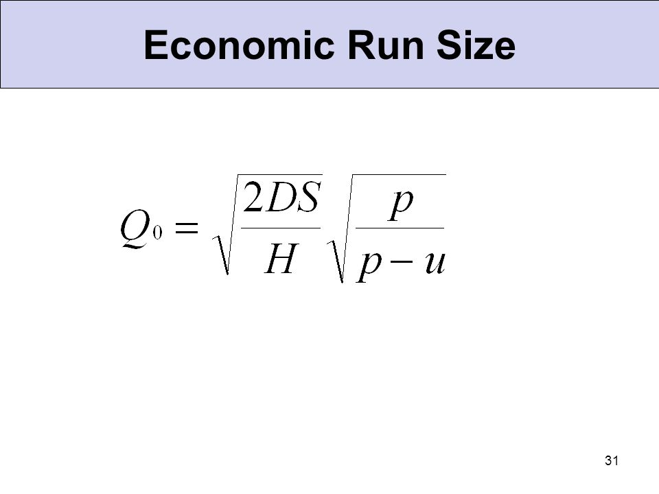 31 Economic Run Size
