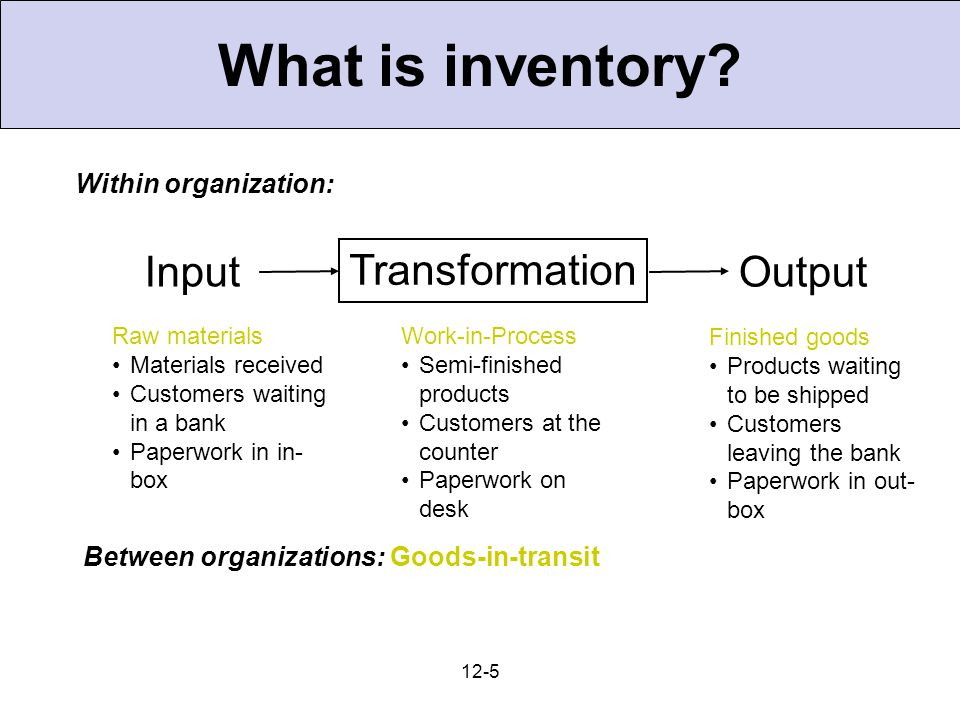 6 Types of Inventories 1.Raw materials & purchased parts 2.Partially completed goods called work in progress (WIP) 3.Finished-goods inventories (manufacturing firms or merchandise, retail stores)