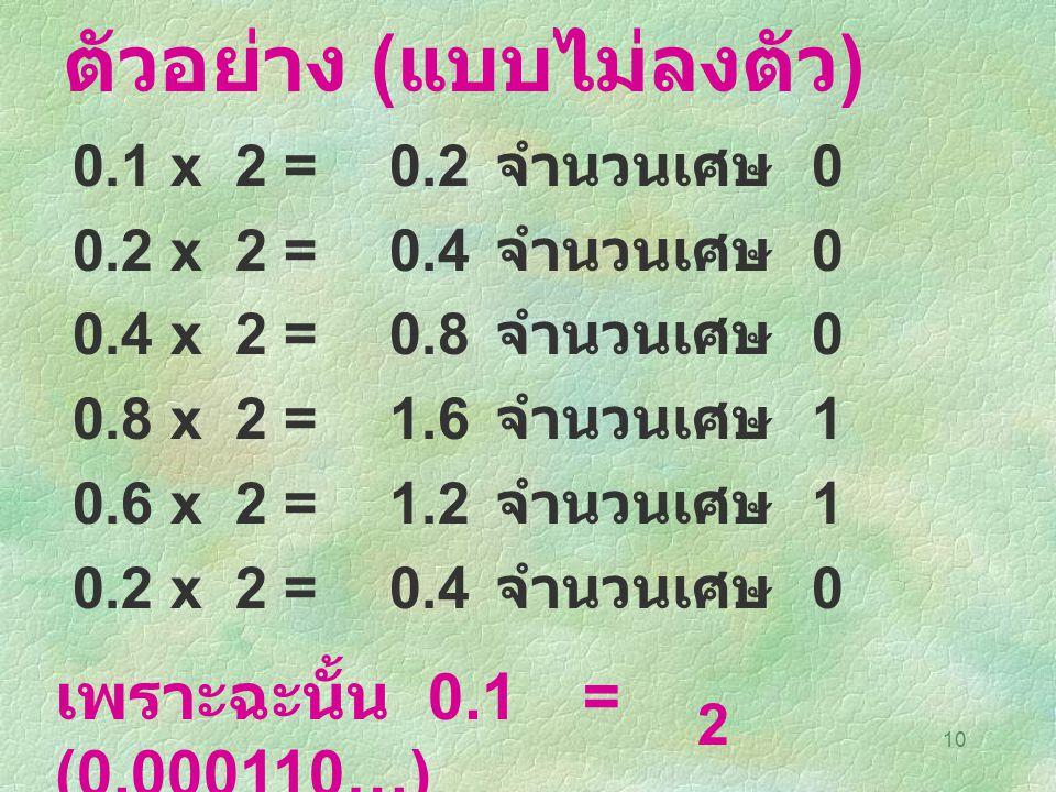 10 ตัวอย่าง ( แบบไม่ลงตัว ) 0.1 x 2=0.2 จำนวนเศษ 0 0.2 x 2=0.4 จำนวนเศษ 0 0.4 x 2=0.8 จำนวนเศษ 0 0.8 x 2=1.6 จำนวนเศษ 1 0.6 x 2=1.2 จำนวนเศษ 1 0.2 x 2