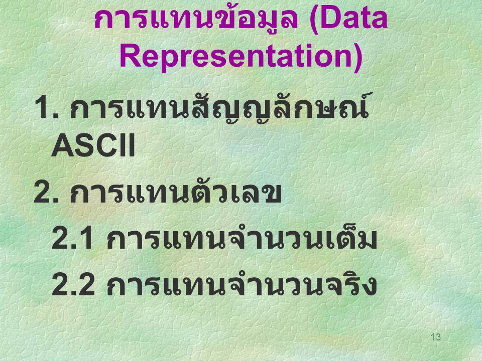 13 การแทนข้อมูล (Data Representation) 1. การแทนสัญญลักษณ์ ASCII 2. การแทนตัวเลข 2.1 การแทนจำนวนเต็ม 2.2 การแทนจำนวนจริง
