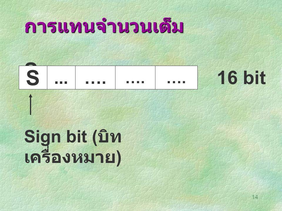 14 การแทนจำนวนเต็ม S S...…. 16 bit Sign bit ( บิท เครื่องหมาย )