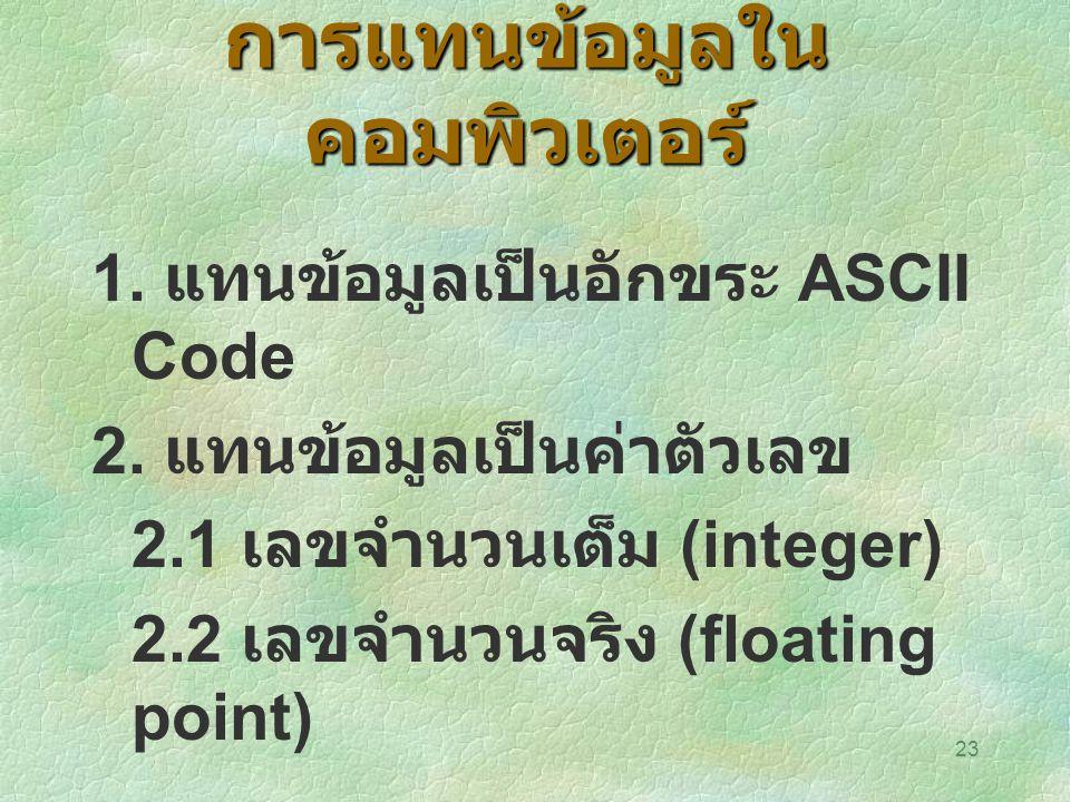 23 การแทนข้อมูลใน คอมพิวเตอร์ 1. แทนข้อมูลเป็นอักขระ ASCII Code 2. แทนข้อมูลเป็นค่าตัวเลข 2.1 เลขจำนวนเต็ม (integer) 2.2 เลขจำนวนจริง (floating point)
