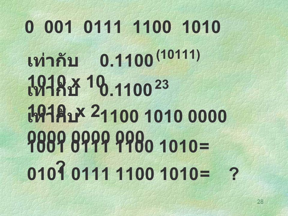 28 0 001 0111 1100 1010 เท่ากับ 0.1100 1010 x 10 (10111) เท่ากับ 0.1100 1010 x 2 23 เท่ากับ 1100 1010 0000 0000 0000 000 1001 0111 1100 1010= ? 0101 0