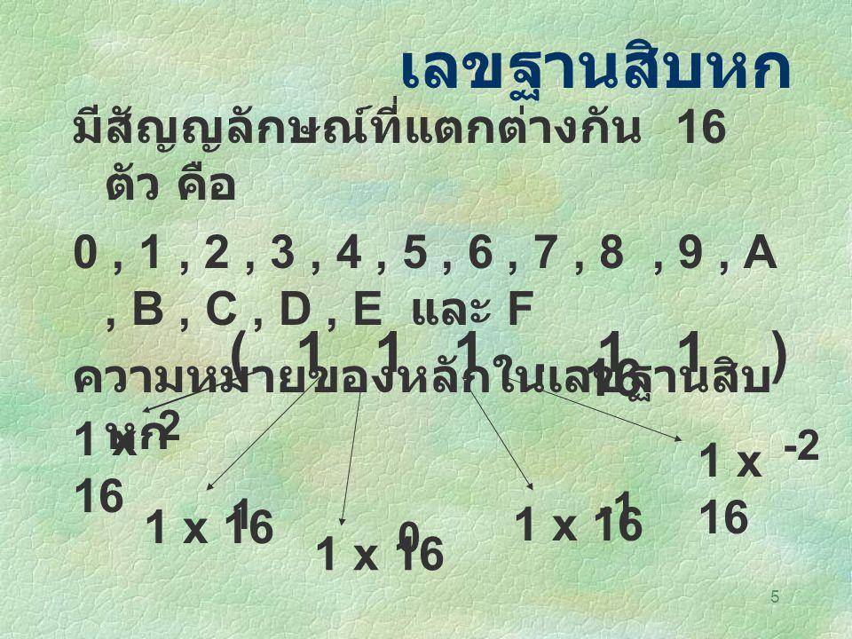 5 เลขฐานสิบหก มีสัญญลักษณ์ที่แตกต่างกัน 16 ตัว คือ 0, 1, 2, 3, 4, 5, 6, 7, 8, 9, A, B, C, D, E และ F ความหมายของหลักในเลขฐานสิบ หก ( 1 1 1. 1 1 ) 16 1