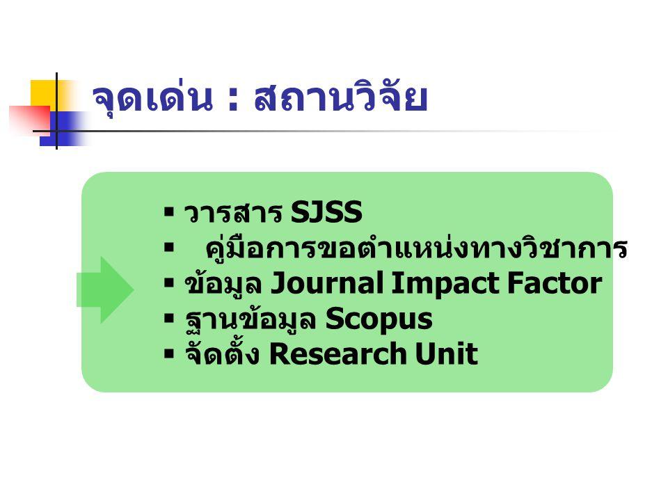 จุดเด่น : สถานวิจัย  วารสาร SJSS  คู่มือการขอตำแหน่งทางวิชาการ  ข้อมูล Journal Impact Factor  ฐานข้อมูล Scopus  จัดตั้ง Research Unit