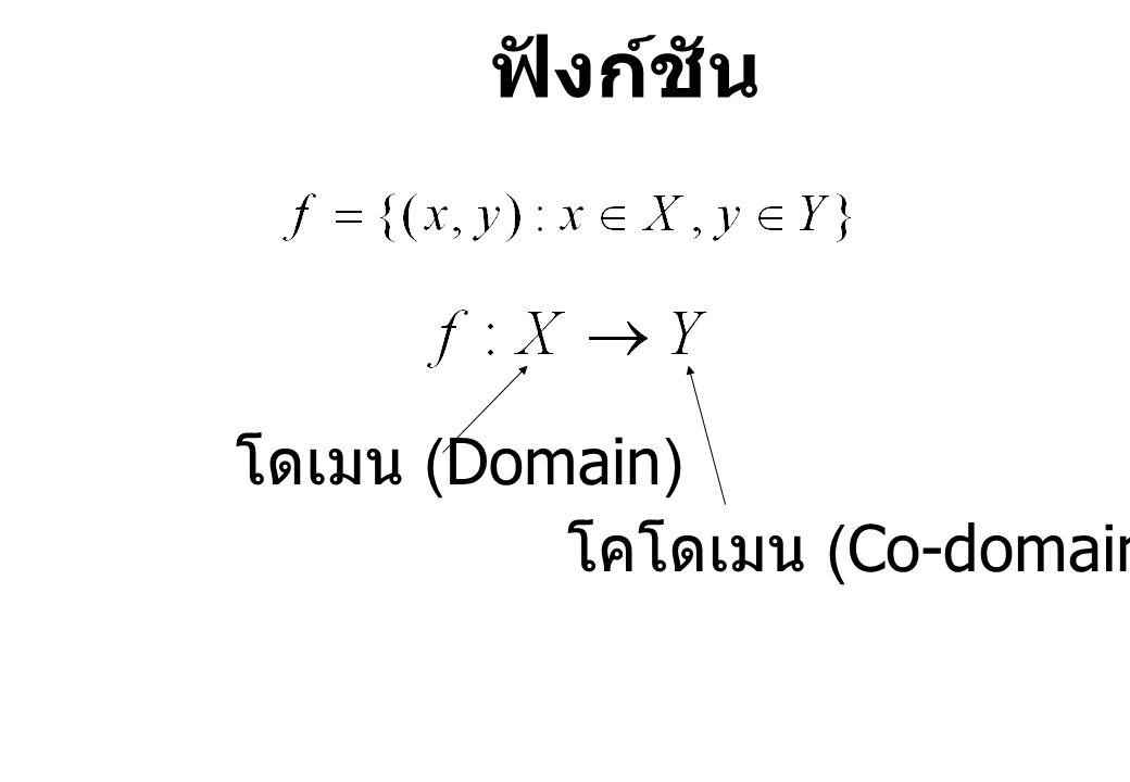 โดเมน (Domain) โคโดเมน (Co-domain) ฟังก์ชัน