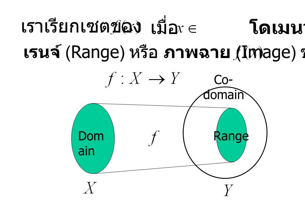 เราเรียกเซตของ เมื่อ โดเมนว่า เรนจ์ (Range) หรือ ภาพฉาย (Image) ของ Dom ain Co- domain Range