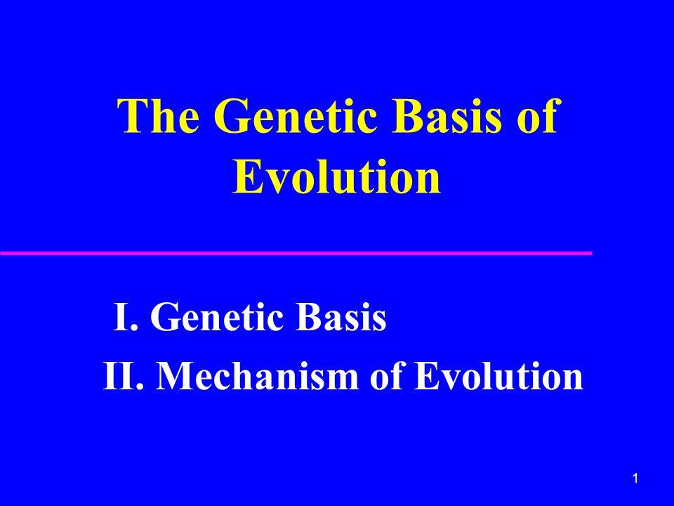 1 The Genetic Basis of Evolution I. Genetic Basis II. Mechanism of Evolution
