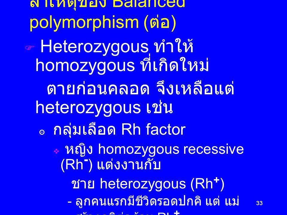 33 สาเหตุของ Balanced polymorphism ( ต่อ )  Heterozygous ทำให้ homozygous ที่เกิดใหม่ ตายก่อนคลอด จึงเหลือแต่ heterozygous เช่น ๏ กลุ่มเลือด Rh factor  หญิง homozygous recessive (Rh - ) แต่งงานกับ ชาย heterozygous (Rh + ) - ลูกคนแรกมีชีวิดรอดปกคิ แต่ แม่ สร้างภูมิต่อต้าน Rh + - แม่ตั้งครรภ์ลูกคนต่อมา ภูมิต่อต้าน Rh + ทำให้เด็ก ตายก่อนเกิด