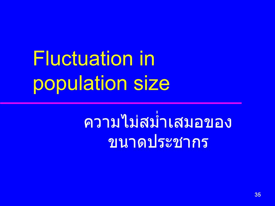 35 Fluctuation in population size ความไม่สม่ำเสมอของ ขนาดประชากร