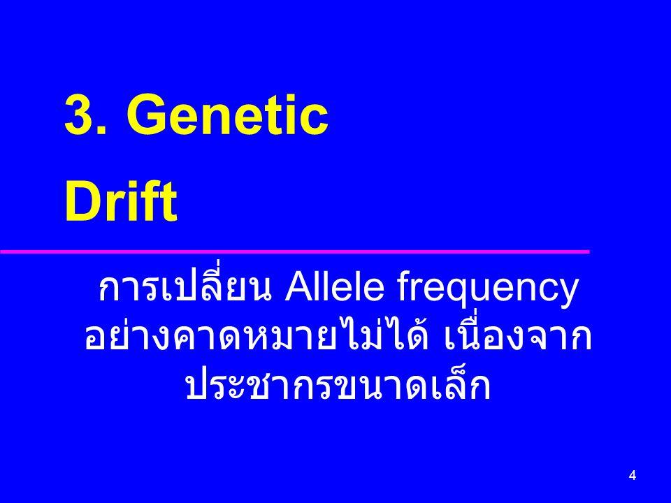 4 การเปลี่ยน Allele frequency อย่างคาดหมายไม่ได้ เนื่องจาก ประชากรขนาดเล็ก 3. Genetic Drift