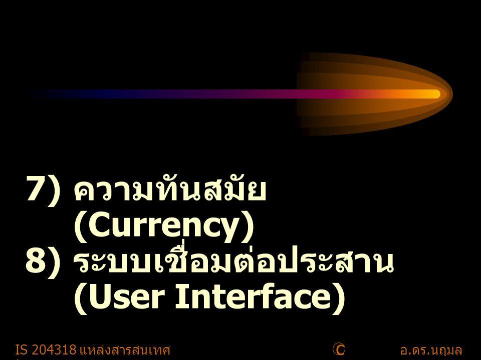 c IS 204318 แหล่งสารสนเทศอ. ดร. นฤมล รักษาสุข 11 7) ความทันสมัย (Currency) 8) ระบบเชื่อมต่อประสาน (User Interface)