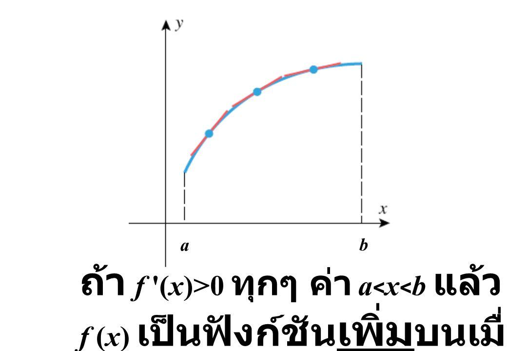 a b ถ้า f '(x)>0 ทุกๆ ค่า a < x < b แล้ว f (x) เป็นฟังก์ชัน เพิ่ม บนเมื่อ a  x  b
