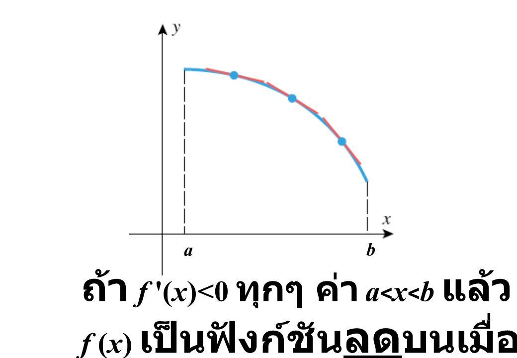 a b ถ้า f '(x)<0 ทุกๆ ค่า a < x < b แล้ว f (x) เป็นฟังก์ชัน ลด บนเมื่อ a  x  b