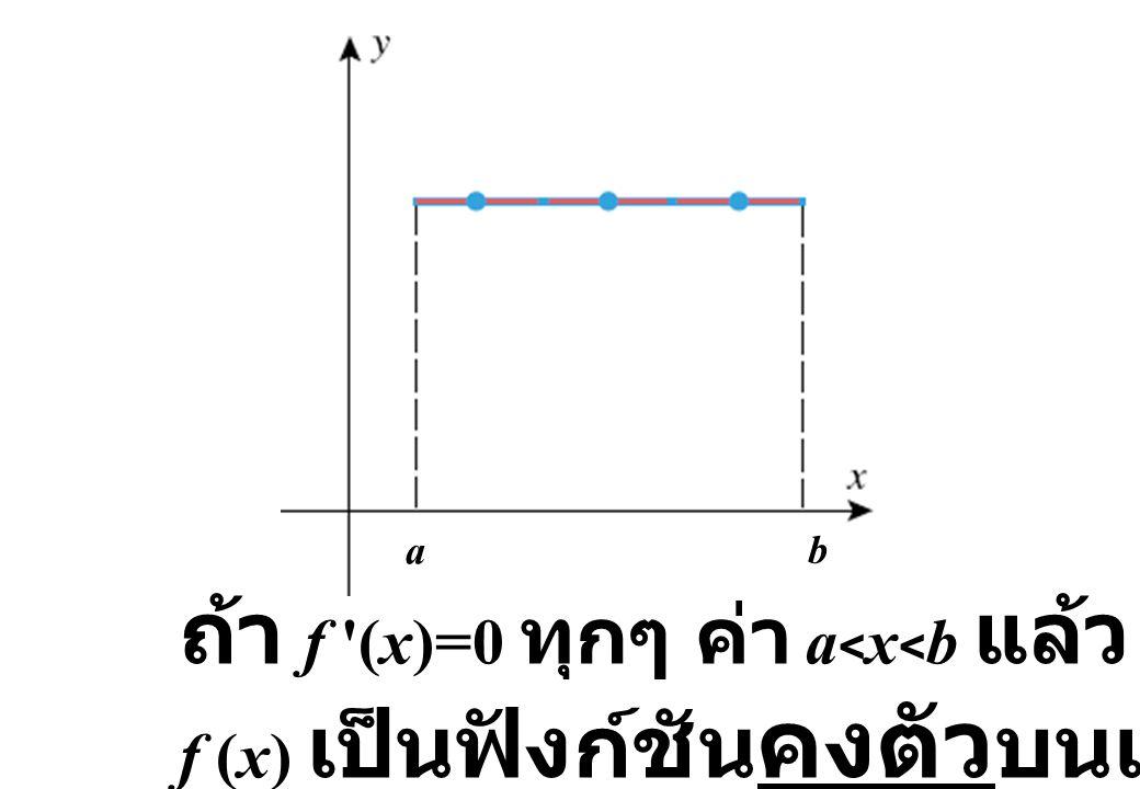 a b ถ้า f '(x)=0 ทุกๆ ค่า a < x < b แล้ว f (x) เป็นฟังก์ชัน คงตัว บนเมื่อ a  x  b