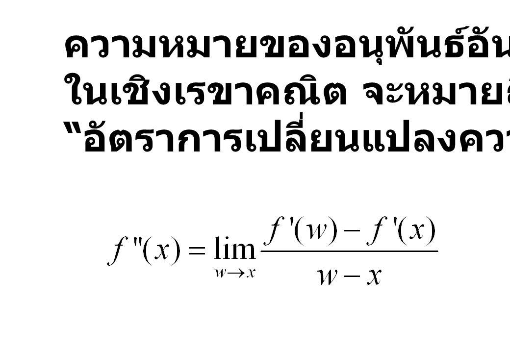 """ความหมายของอนุพันธ์อันดับที่ 2 ในเชิงเรขาคณิต จะหมายถึง """" อัตราการเปลี่ยนแปลงความชัน """""""