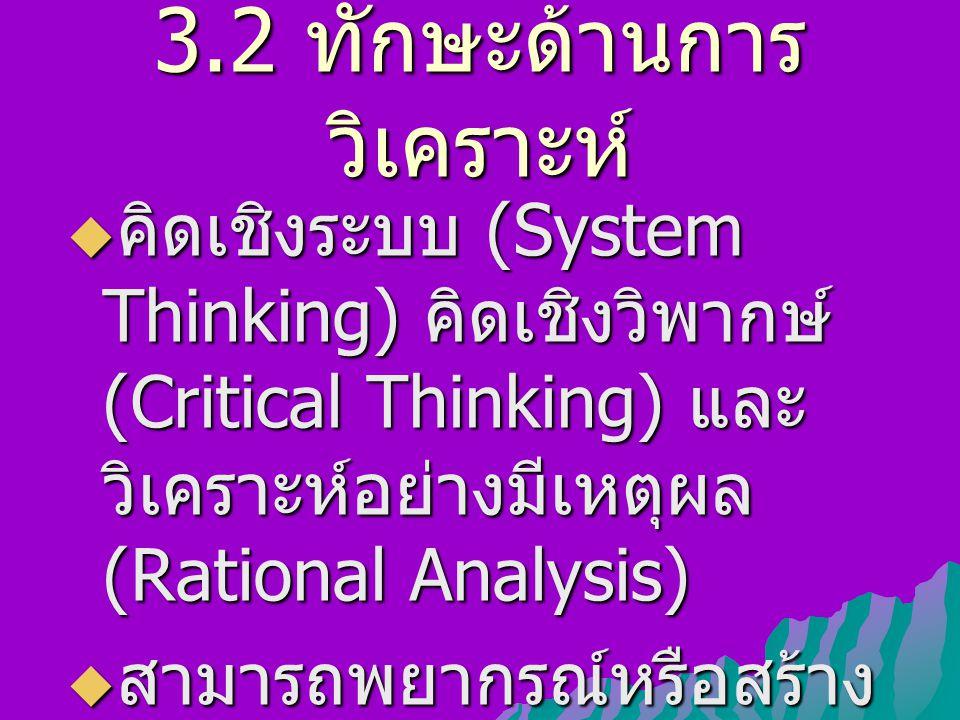 3.2 ทักษะด้านการ วิเคราะห์  คิดเชิงระบบ (System Thinking) คิดเชิงวิพากษ์ (Critical Thinking) และ วิเคราะห์อย่างมีเหตุผล (Rational Analysis)  สามารถพยากรณ์หรือสร้าง ภาพอนาคต (Scenario)
