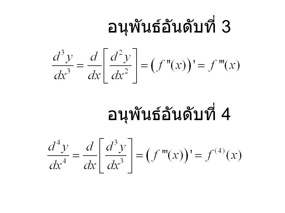 อนุพันธ์อันดับที่ 3 อนุพันธ์อันดับที่ 4