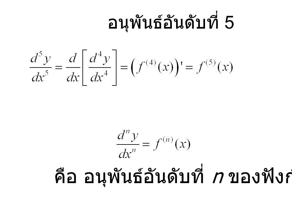 คือ อนุพันธ์อันดับที่ n ของฟังก์ชัน f(x) อนุพันธ์อันดับที่ 5