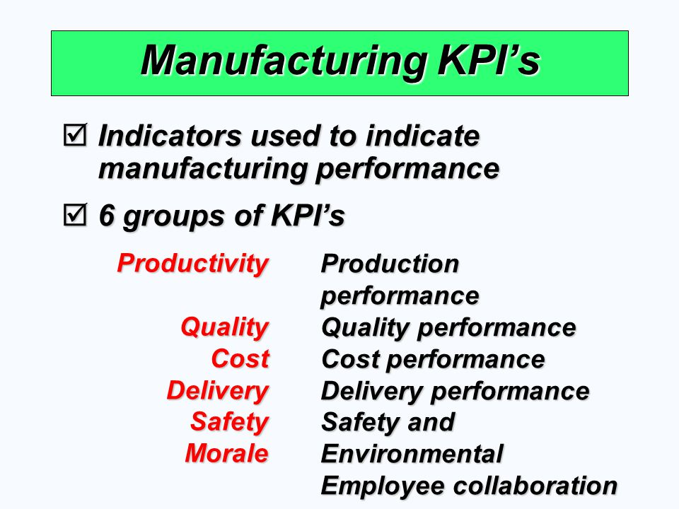  Indicators used to indicate manufacturing performance  6 groups of KPI's Manufacturing KPI's ProductivityQualityCostDeliverySafetyMorale Production
