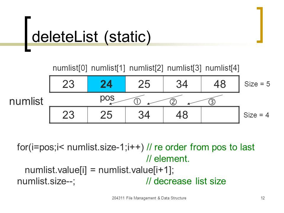 204311 File Management & Data Structure13 Static List CreateList( การสร้างรายการว่าง ) isEmpty( ทดสอบว่ารายการว่างหรือไม่ ) insertList( การเพิ่มสมาชิกใหม่ลงใน รายการ ) deleteList( การลบสมชิกออกจากรายการ ) Traverse( การเข้าถึงสมาชิกของ รายการ )