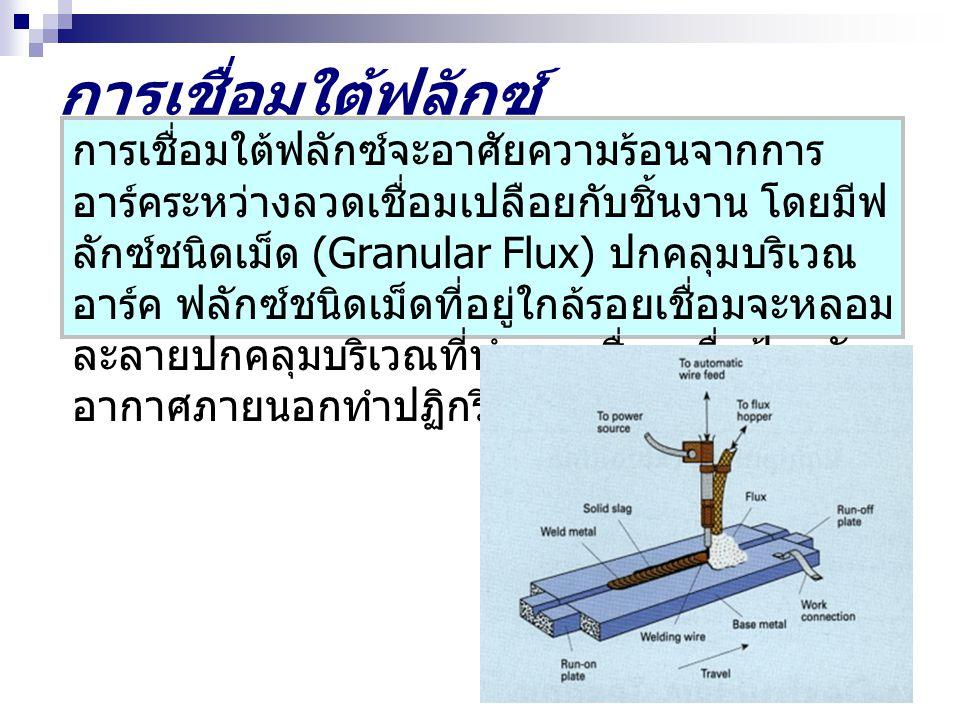 การเชื่อมใต้ฟลักซ์ การเชื่อมใต้ฟลักซ์จะอาศัยความร้อนจากการ อาร์คระหว่างลวดเชื่อมเปลือยกับชิ้นงาน โดยมีฟ ลักซ์ชนิดเม็ด (Granular Flux) ปกคลุมบริเวณ อาร์ค ฟลักซ์ชนิดเม็ดที่อยู่ใกล้รอยเชื่อมจะหลอม ละลายปกคลุมบริเวณที่ทำการเชื่อมเพื่อป้องกัน อากาศภายนอกทำปฏิกริยา