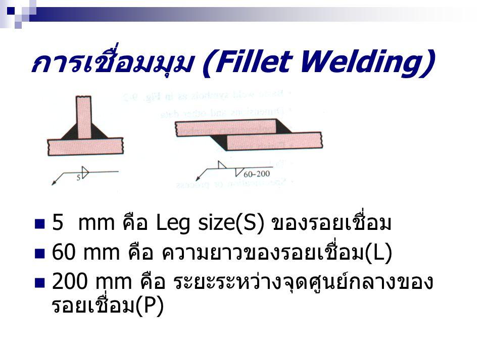 การเชื่อมมุม (Fillet Welding) 5 mm คือ Leg size(S) ของรอยเชื่อม 60 mm คือ ความยาวของรอยเชื่อม (L) 200 mm คือ ระยะระหว่างจุดศูนย์กลางของ รอยเชื่อม (P)