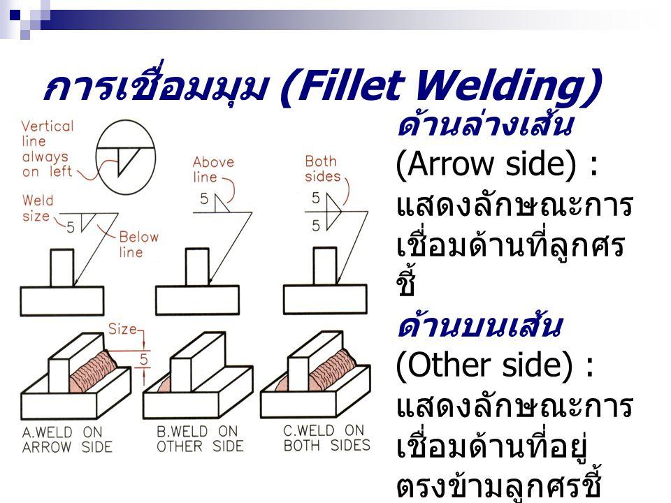 การเชื่อมมุม (Fillet Welding) ด้านล่างเส้น (Arrow side) : แสดงลักษณะการ เชื่อมด้านที่ลูกศร ชี้ ด้านบนเส้น (Other side) : แสดงลักษณะการ เชื่อมด้านที่อยู่ ตรงข้ามลูกศรชี้
