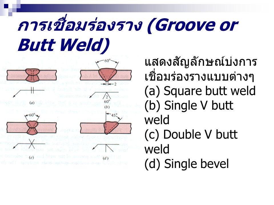 การเชื่อมร่องราง (Groove or Butt Weld) แสดงสัญลักษณ์บ่งการ เชื่อมร่องรางแบบต่างๆ (a) Square butt weld (b) Single V butt weld (c) Double V butt weld (d) Single bevel