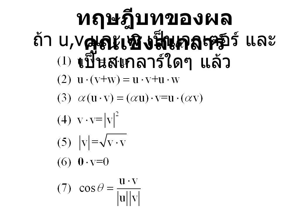 ทฤษฎีบทของผล คูณเชิงสเกลาร์ ถ้า u,v และ w เป็นเวกเตอร์ และ เป็นสเกลาร์ใดๆ แล้ว