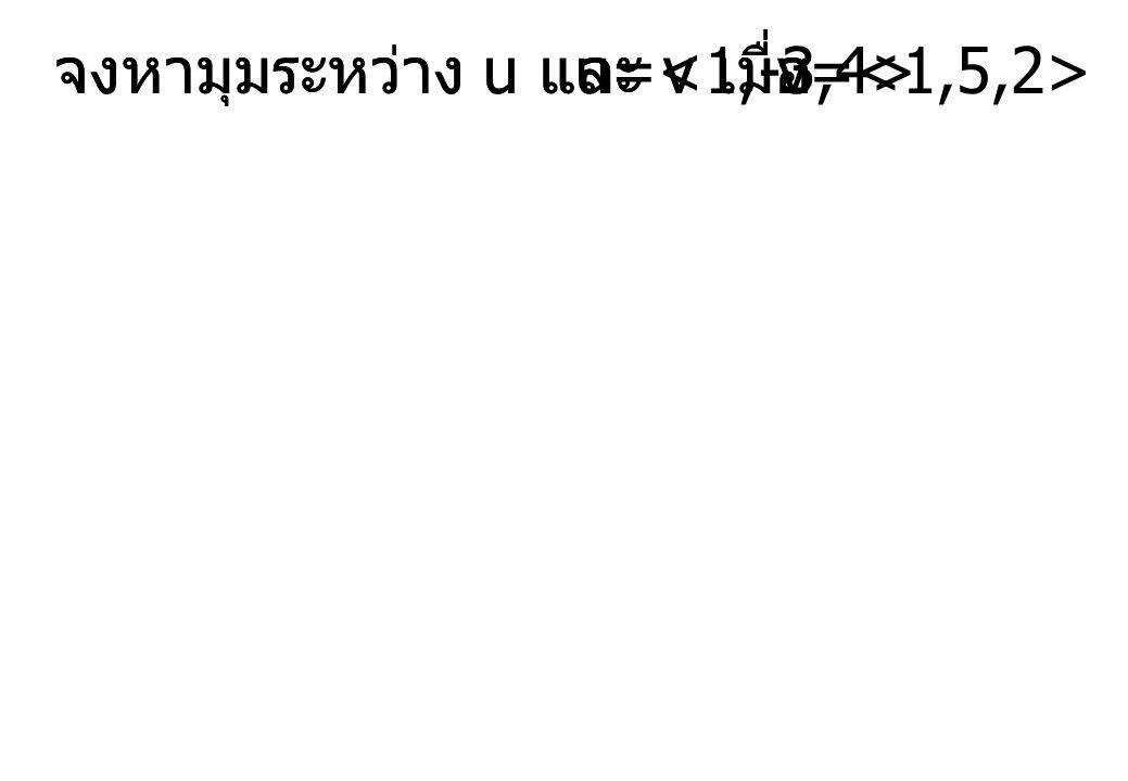 จงหามุมระหว่าง u และ v เมื่อ u= v= จงหามุมระหว่าง u และ v เมื่อ