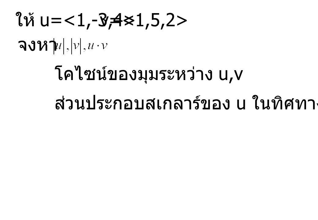 u= v= ให้ จงหา โคไซน์ของมุมระหว่าง u,v ส่วนประกอบสเกลาร์ของ u ในทิศทางของ v