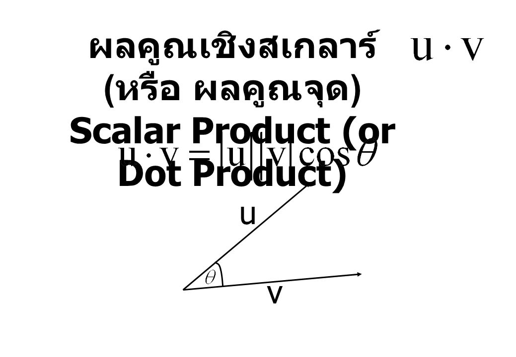 ผลคูณเชิงสเกลาร์ ( หรือ ผลคูณจุด ) Scalar Product (or Dot Product) v u