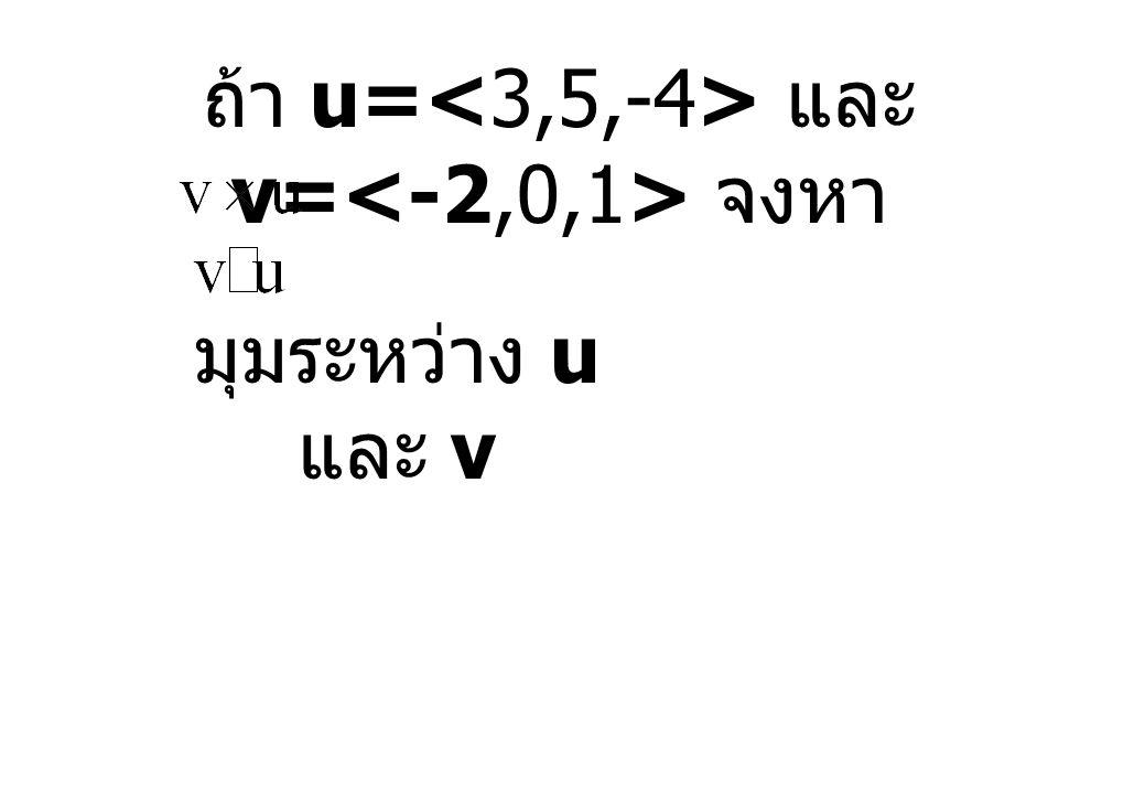 ถ้า u= และ v= จงหา มุมระหว่าง u และ v