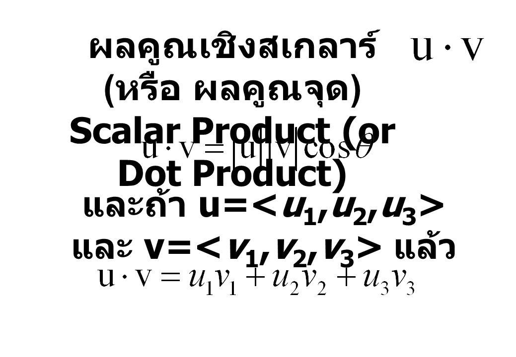 ผลคูณเชิงสเกลาร์ ( หรือ ผลคูณจุด ) Scalar Product (or Dot Product) และถ้า u= และ v= แล้ว