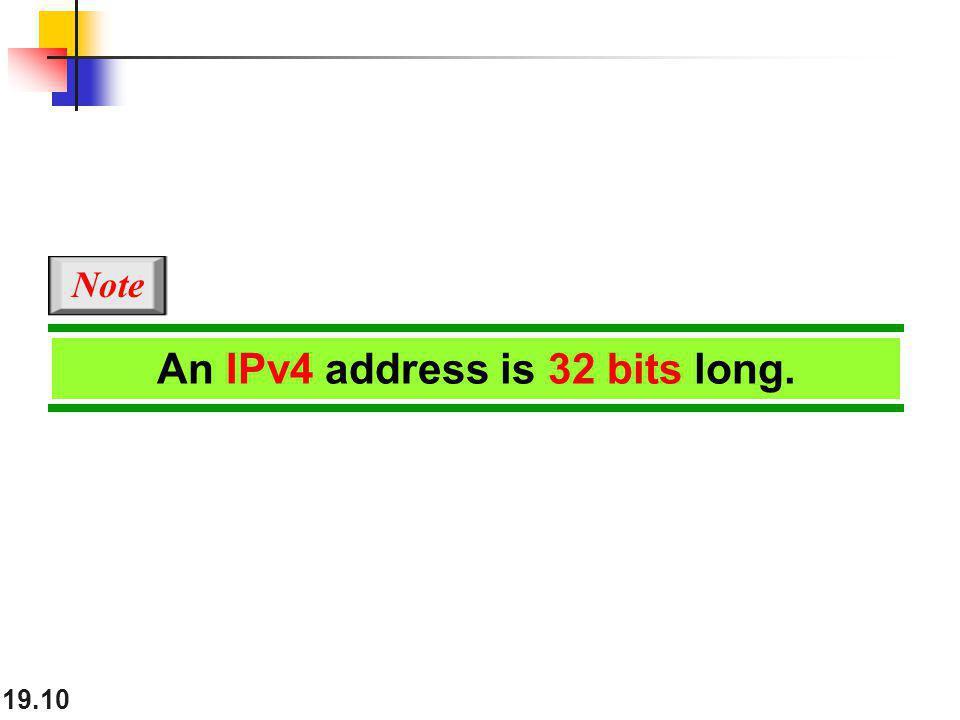 19.10 An IPv4 address is 32 bits long. Note