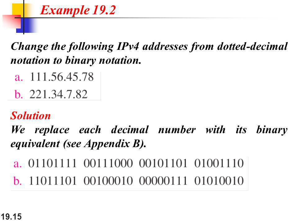 19.15 Change the following IPv4 addresses from dotted-decimal notation to binary notation. Example 19.2 Solution We replace each decimal number with i
