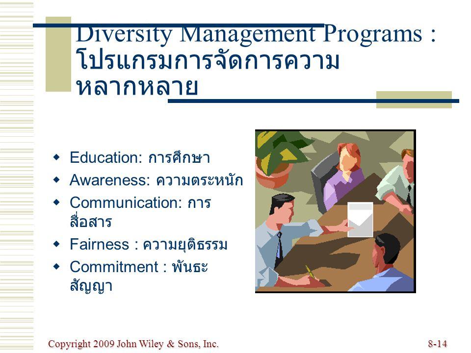 Copyright 2009 John Wiley & Sons, Inc.8-14 Diversity Management Programs : โปรแกรมการจัดการความ หลากหลาย   Education: การศึกษา   Awareness: ความตระหนัก   Communication: การ สื่อสาร   Fairness : ความยุติธรรม   Commitment : พันธะ สัญญา